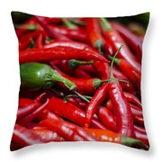 Chili Peppers At The Market Throw Pillow by Heather Applegate