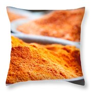 Chili Powder At Local Street Market In Dunhuang China Throw Pillow