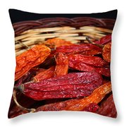 Chilis In A Basket Throw Pillow