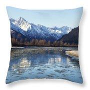 Chilkat River Freeze Up Throw Pillow
