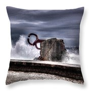 Chillidas Comb Of The Wind In San Sebastian Basque Country Spain Throw Pillow