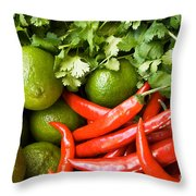 Chillies And Limes Throw Pillow