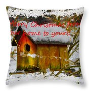 Chilly Birdhouse Holiday Card Throw Pillow
