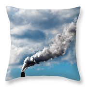 Chimney Exhaust Waste Amount Of Co2 Into The Atmosphere Throw Pillow by Ulrich Schade