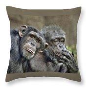 Chimp Couple Throw Pillow