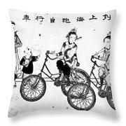 China Bicyclists, C1900 Throw Pillow