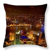 China Shanghai At Night  Throw Pillow