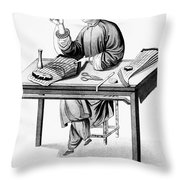 China: Stocking-maker Throw Pillow
