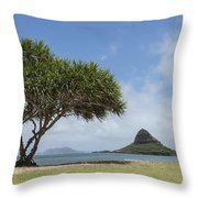Chinamans Hat With Tree - Oahu Hawaii Throw Pillow