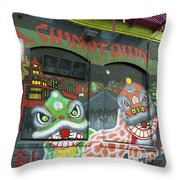 Chinatown Foo Dog Mural Throw Pillow