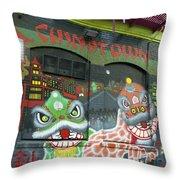 Chinatown Foo Dog Mural Throw Pillow