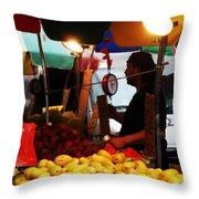 Chinatown Fruit Vendor Throw Pillow