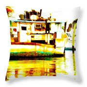 Chincoteague Boat Reflections Throw Pillow