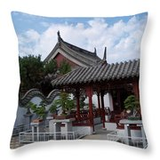 Chinese Bonsai Garden Throw Pillow