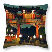 Chinese Entrance Arch Throw Pillow