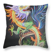 Chinese Fire Dragon Throw Pillow