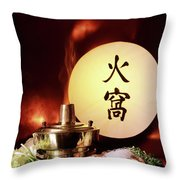 Chinese Food Against A Backgroup Of Flames Throw Pillow