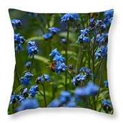 Chinese Forget Me Nots And Honey Bee Throw Pillow