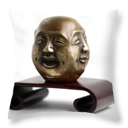 Chinese Four Faced Figure Throw Pillow