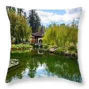 Chinese Garden And Sky Throw Pillow