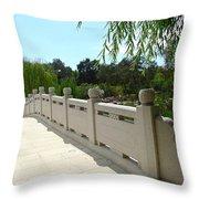 Chinese Garden Bridge Throw Pillow