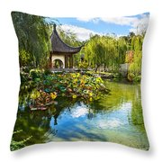 Chinese Garden Lake Throw Pillow