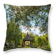 Chinese Garden Sun Throw Pillow
