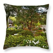 Chinese Garden View Throw Pillow