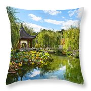 Chinese Garden Vista Throw Pillow