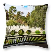 Chinese Garden Window Throw Pillow