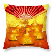 Chinese Gold Bars And Fan With Text Happy New Year Throw Pillow