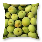 Chinese Green Plums Throw Pillow by Yali Shi