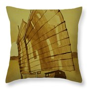 Chinese Junk Boat Throw Pillow