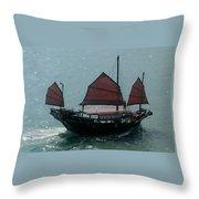 Chinese Junk In Hong Kong Harbor Throw Pillow