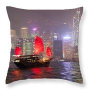 Chinese Junk Sail In Hong Kong Harbor At Night Throw Pillow