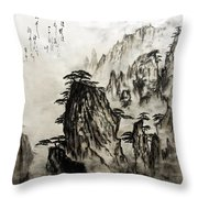 Chinese Mountains With Poem In Ink Brush Calligraphy Of Love Poem Throw Pillow