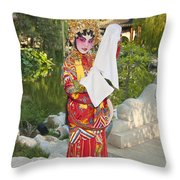 Chinese Opera Girl - In Full Traditional Chinese Opera Costumes. Throw Pillow