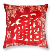 Chinese Ornamental Character Throw Pillow