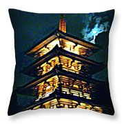 Chinese Pagoda At Night With Full Moon Throw Pillow