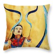 Chinese Ribbon Dancer  Blue Ribbon Throw Pillow