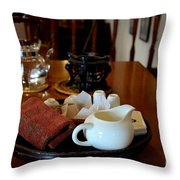 Chinese Tea Pot Cups Towel Tray And Plates Throw Pillow