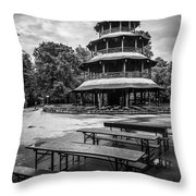 Chinesischer Turm Bw Throw Pillow by Hannes Cmarits