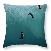 Chinstrap Penguins Leaping Throw Pillow
