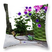 Chipmunk And Flowers Throw Pillow