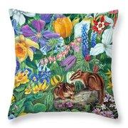 Chipmunk Garden Throw Pillow