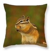 Chipmunk Loving Honey Roasted Peanuts Throw Pillow