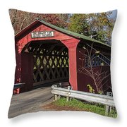 Chiselville Covered Bridge Throw Pillow by Edward Fielding