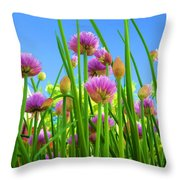 Chive Flowers And Buds Throw Pillow by Jo Ann