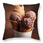 Chocolate Ice Cream Throw Pillow