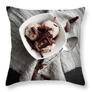 Chocolate Ice Cream Throw Pillow